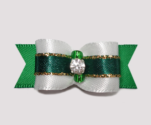 "#2380 - 5/8"" Dog Bow - Angelic White & Green w/Gold, Rhinestone"