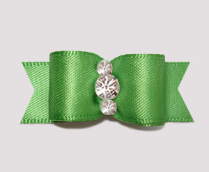 "#2381 - 5/8"" Dog Bow - Satin, Summer Green, Triple Rhinestones"