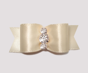 "#2382 - 5/8"" Dog Bow - Satin, Soft Cream, Triple Rhinestones"