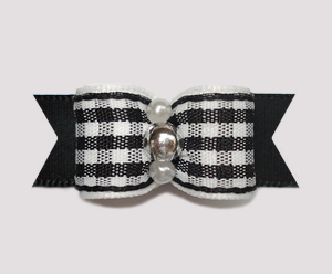 "#2384 - 5/8"" Dog Bow- Crisp & Classic, Black/White Plaid, Silver"