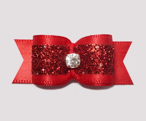 "#2387 - 5/8"" Dog Bow - Gorgeous Glitter, Classic Red, Rhinestone"