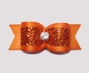 "#2391 5/8"" Dog Bow- Gorgeous Glitter, Vibrant Orange, Rhinestone"