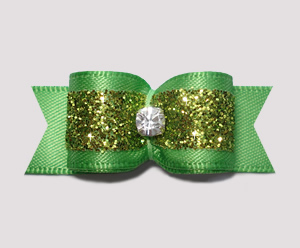 "#2392- 5/8"" Dog Bow - Gorgeous Glitter, Summer Green, Rhinestone"
