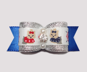 "#2394 - 5/8"" Dog Bow - Darling Little Yorkies, Silver on Blue"