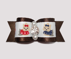 "#2396-5/8"" Dog Bow- Darling Yorkies, Chocolate Brown, Rhinestone"