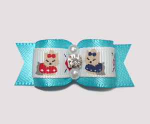 "#2400- 5/8"" Dog Bow - Darling Yorkies, Electric Blue, Rhinestone"