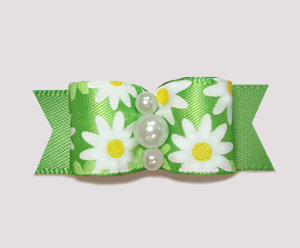 "#2406 - 5/8"" Dog Bow - Bright Delightful Daisies on Summer Green"