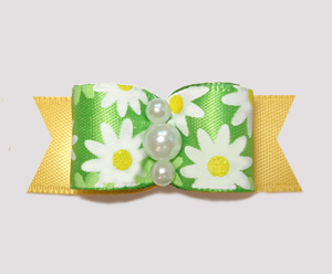 "#2407 - 5/8"" Dog Bow - Bright Delightful Daisies on Sunny Yellow"
