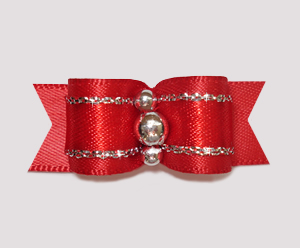 "#2412 - 5/8"" Dog Bow - Classic Red Satin with Sparkle, Silver"
