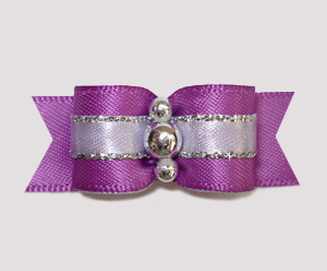 "#2415 - 5/8"" Dog Bow - Gorgeous Orchid Purple Satin with Silver"