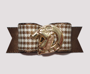 "#2417- 5/8"" Dog Bow- Brown/White Country Gingham, Gold Horseshoe"