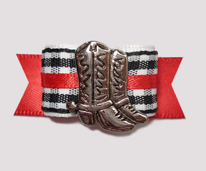 "#2418 - 5/8"" Dog Bow - Western Boot, Black/White Gingham w/Red"