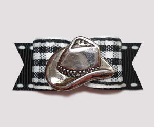 "#2421 - 5/8"" Dog Bow - Western Hat, Black/White Gingham w/Black"