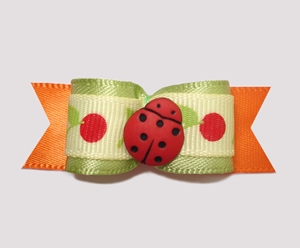 "#2431 - 5/8"" Dog Bow - Cute Little Ladybug on Cherries"