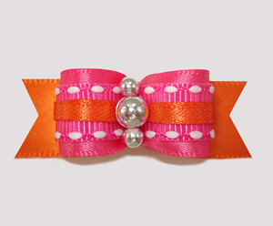 "#2433 - 5/8"" Dog Bow - Summer Brights, Hot Pink/Orange"