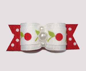 "#2438 - 5/8"" Dog Bow - Sweet Red & White Cherries, Dots"