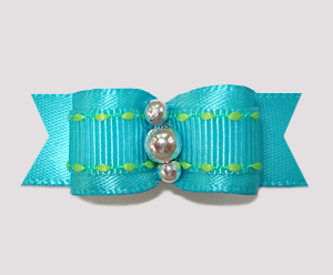 "#2441 - 5/8"" Dog Bow- Electric Blue with a Touch of Lime, Silver"