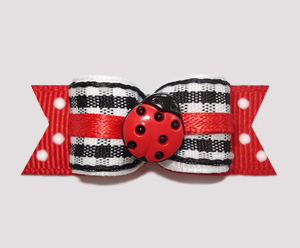 "#2447 - 5/8"" Dog Bow - Sweet Li'l Ladybug Gingham - Click Image to Close"