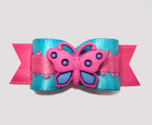 "#2448 - 5/8"" Dog Bow - Electric Blue 'n Hot Pink, Butterfly"