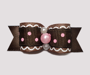 "#2452 - 5/8"" Dog Bow - Chocolate, Strawberry Sprinkle 'n Icing"