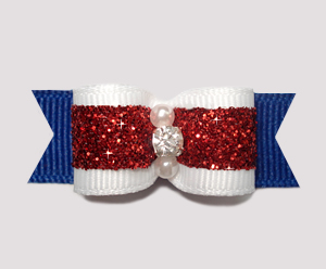"#2454 - 5/8"" Dog Bow - Sparkly Red, White 'n Blue"