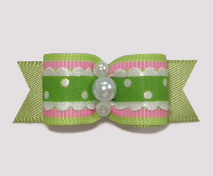 "#2456 - 5/8"" Dog Bow - Country Cottage Ruffle, Lime/Pink"