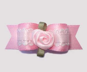 "#2457 - 5/8"" Dog Bow - Pretty Girl, Soft Pink with Rosette"