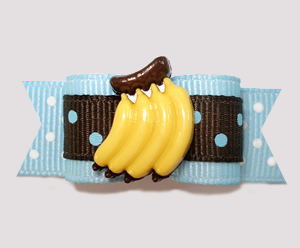 "#2458 - 5/8"" Dog Bow - Chocolate and Blueberry Dots, Banana"