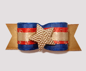 "#2461 - 5/8"" Dog Bow - Western Style Star, Blue/Bronze/Red"