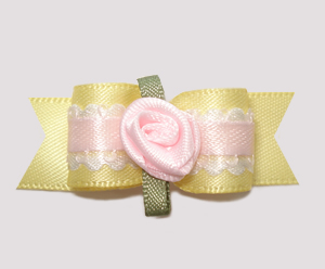 "#2465 - 5/8"" Dog Bow - Pretty Girl, Soft Yellow with Rosette"