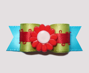 "#2466 - 5/8"" Dog Bow - Kiwi Green/Blue with Red Flower"