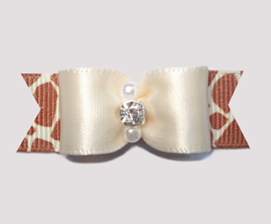 "#2468 - 5/8"" Dog Bow - Cream Satin/Exotic Giraffe, Rhinestone"