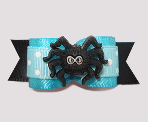 "#2471 - 5/8"" Dog Bow - Cute Itsy Bitsy Spider, Electric Blue"