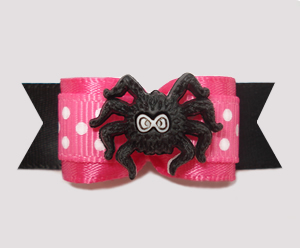 "#2472 - 5/8"" Dog Bow - Cute Itsy Bitsy Spider, Hot Pink"