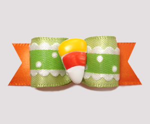 "#2474 - 5/8"" Dog Bow - Sweet Little Candy Corn Ruffle"