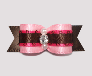"#2482 - 5/8"" Dog Bow - Gorgeous Pink/Chocolate, Rhinestone"
