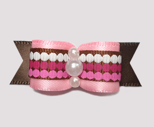 "#2483 - 5/8"" Dog Bow - Chocolate & Raspberry Dots, Pink/Brown"