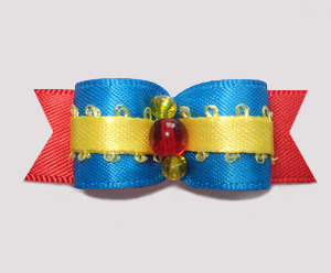 "#2487 - 5/8"" Dog Bow - Crayon Blue, Red & Yellow"