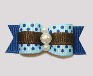 "#2493 - 5/8"" Dog Bow - Blue Dots Sprinkle, Touch of Brown"