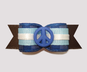 "#2494 - 5/8"" Dog Bow - Hippy Peace, Blue/White/Brown"