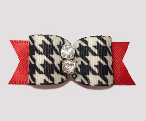 "#2501 - 5/8"" Dog Bow - Classic Houndstooth, Double Rhinestone"