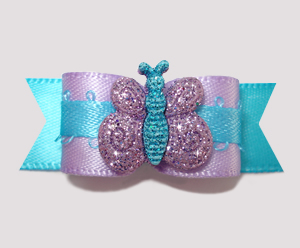 "#2506 - 5/8"" Dog Bow - Sweet Lavender w/Blue Sparkle Butterfly"