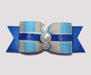 "#2507 - 5/8"" Dog Bow - Boy O Boy, Cute Blue Plaid"