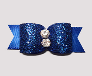 "#2508 - 5/8"" Dog Bow - Showy Blue Glitter, Double Rhinestone"