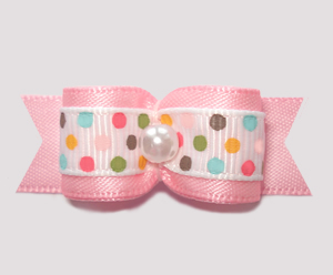 "#2511 - 5/8"" Dog Bow - Ice Cream Dots, Baby Pink, Pearl"