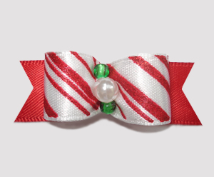 "#2512 - 5/8"" Dog Bow - Candy Cane Delight on Red"