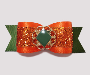 "#2515 - 5/8"" Dog Bow - Gorgeous & Classic Autumn Glitter - Click Image to Close"