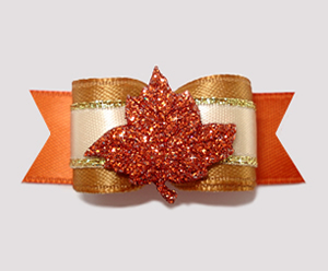 "#2516 - 5/8"" Dog Bow - Beautiful Autumn Glitter Leaf"