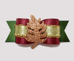 "#2518 - 5/8"" Dog Bow - Autumn Gold Glitter Leaf, Cranberry/Olive"