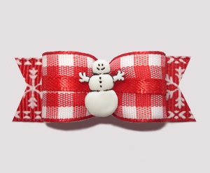 "#2523 - 5/8"" Dog Bow - Country Winter, Playful Snowman"